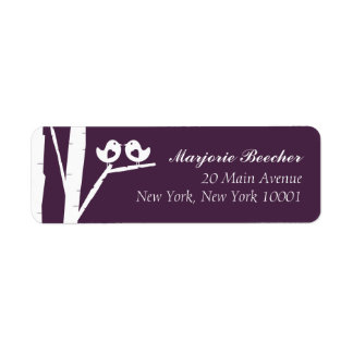 Birch Tree Birds Address Labels Purple