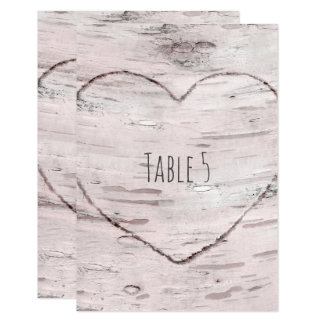 Birch Tree & Carved Heart Rustic Table Number Card
