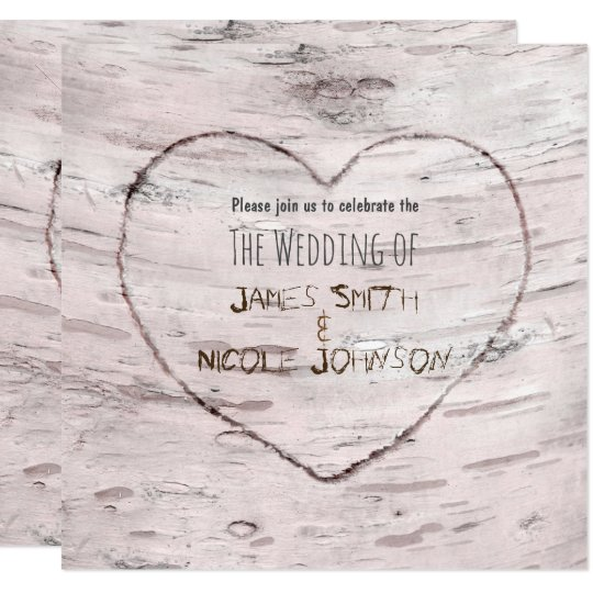 Birch Tree & Carved Heart Wedding Invitations