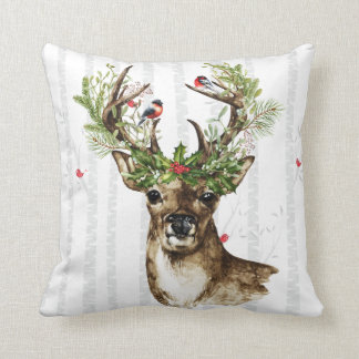 Birch Tree forest with a woodland Christmas deer Cushion