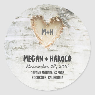 Birch Tree Heart Rustic Wedding Classic Round Sticker