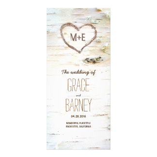 Birch Tree Heart Rustic Wedding Programs Rack Card