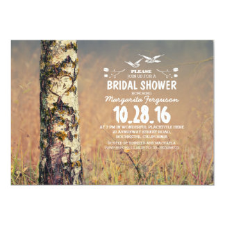 Birch tree & love heart rustic bridal shower customized announcement card