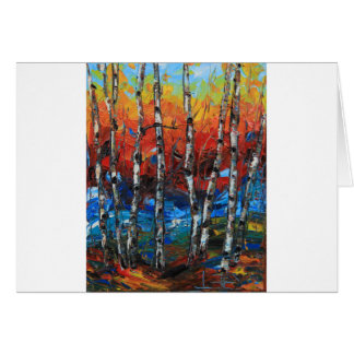 Birch Tree Palette Knife Painting Greeting Card