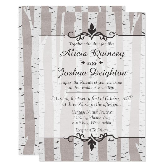 Birch Tree Rustic Nature Custom Wedding Invitation