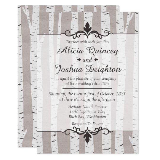 Birch Tree Rustic Nature Custom Wedding Invitation