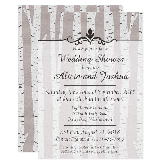 Birch Tree Rustic Nature Wedding Shower Invitation