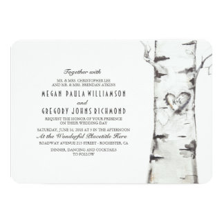 Birch Tree Rustic Wedding Card