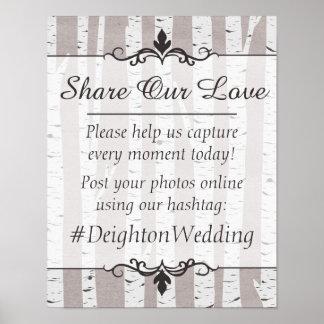 Birch Tree Rustic Wedding Hashtag Photos Sign