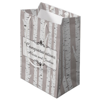 Birch Tree Rustic Wood Nature Wedding Personalized Medium Gift Bag