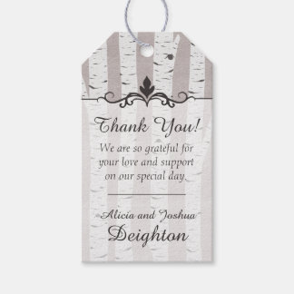 Birch Tree Rustic Wood Nature Wedding Thank You Gift Tags