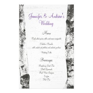 Birch Tree Wedding Menu Personalised Stationery