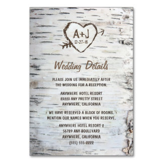 Birch Tree Wedding Reception + Accommodation Cards
