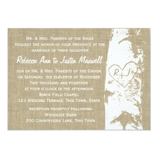 Birch Tree with Carved Heart and Initials 13 Cm X 18 Cm Invitation Card