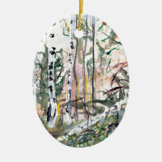 Birch Tree Woodland Watercolour Painting Ceramic Oval Decoration