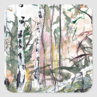 Birch Tree Woodland Watercolour Painting Square Sticker