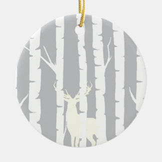 Birch Trees and Deer Christmas Ornament