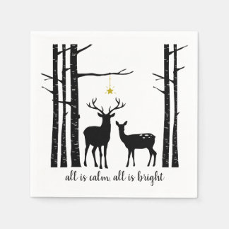 Birch Trees and Deer Christmas | Paper Napkin