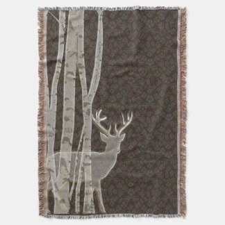 Birch Trees and Deer Throw Blanket