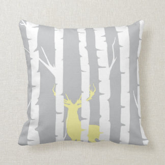 Birch Trees and Yellow Deer Throw Pillow
