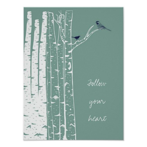 Birch Trees Bird Sage Posters