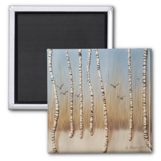 Birch Trees In Winter Magnet