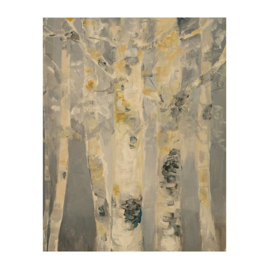 Birch Trees On Grey Background 4 Wood Wall