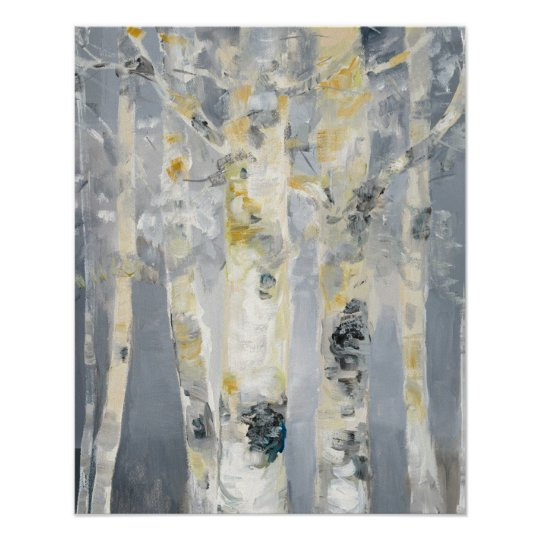 Birch Trees On Grey Background Poster