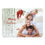 Birch Trees Red Love Birds Merry Christmas Personalised Invite