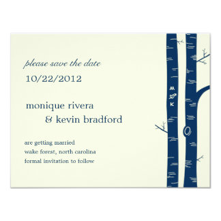 """Birch Trees Save The Date Announcement - Navy 4.25"""" X 5.5"""" Invitation Card"""
