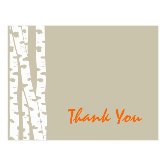 Birch Trees Thank You Postcard