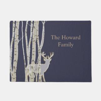 Birch Trees with Deer Custom Door Mat