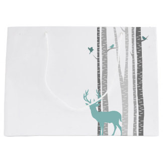 Birch Trees with Deer Large Gift Bag