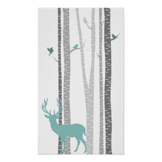 Birch Trees with Deer Poster