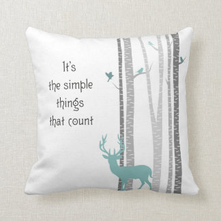 Birch Trees with Deer Simple Things Count Throw Pillow