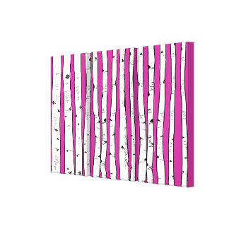 Birch Trees You Choose Background Color Stretched Canvas Prints