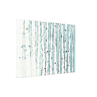Birch Trees You Choose Background Color Stretched Canvas Print
