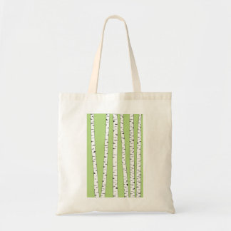 Birch Trunks on Green Budget Tote Bag