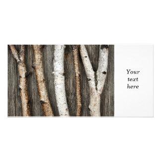 Birch trunks personalized photo card