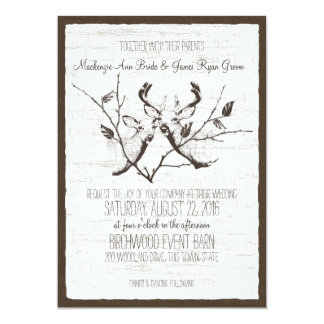 Birch Wood Deer Wedding Card