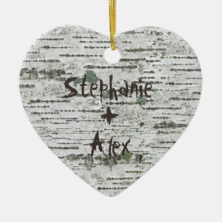 Birch Wood Rustic Couples Christmas Ornament