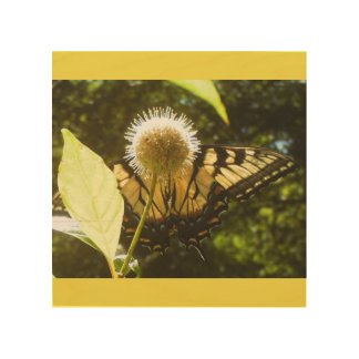 Birch Wood Wall Art Yellow Monarch