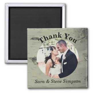 Birch Wood Wedding Thank You Photo Magnet