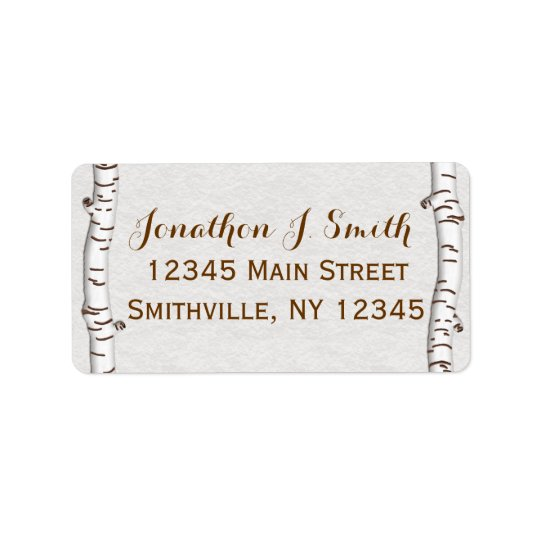 Birch Woods Rustic Address Label