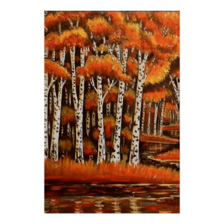 Birches Autumn Landscape Poster