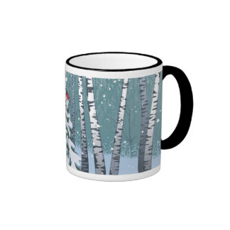 Birches In The Winter Forest Mugs