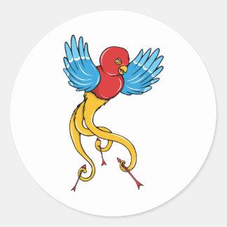 Bird 3 ~ Vintage Forties Tattoo Bird Art Round Stickers