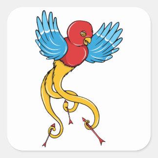Bird 3 ~ Vintage Forties Tattoo Bird Art Square Sticker