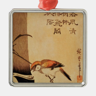 Bird and bamboo, c.1830, Silver-Colored square decoration