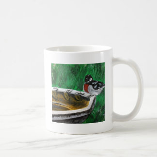 Bird and birdbath basic white mug